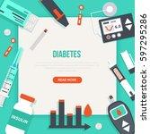 diabetes concept banner. vector ... | Shutterstock .eps vector #597295286