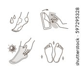 steps how to apply foot mask.... | Shutterstock .eps vector #597295328