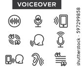 voiceover or voice command icon ... | Shutterstock .eps vector #597299858