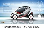realistic 3d electric car... | Shutterstock .eps vector #597311522