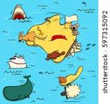 illustrated map of australia.... | Shutterstock .eps vector #597315092