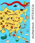 illustrated map of asia. with... | Shutterstock .eps vector #597315116