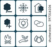 set of 9 eco icons. includes... | Shutterstock .eps vector #597316106