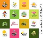 set of vector logos. juice and... | Shutterstock .eps vector #597316712