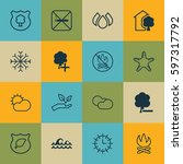 set of 16 eco friendly icons.... | Shutterstock .eps vector #597317792