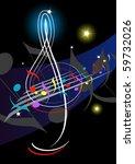 treble clef night music   Shutterstock .eps vector #59732026