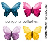Stock vector polygonal butterflies illustration set low poly yellow blue purple pink butterfly 597327302