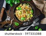 soy noodles  fried garlic ... | Shutterstock . vector #597331088