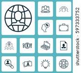 set of 12 business management... | Shutterstock .eps vector #597333752