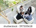 top view of business people... | Shutterstock . vector #597335618