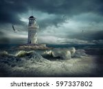 lighthouse on the sea under sky. | Shutterstock . vector #597337802