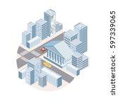 flat 3d isometric city building ... | Shutterstock .eps vector #597339065