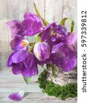 spring composition with purple... | Shutterstock . vector #597339812