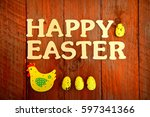 happy easter with chickens and... | Shutterstock . vector #597341366