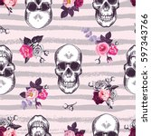 kitschy seamless pattern with... | Shutterstock .eps vector #597343766