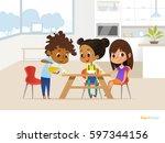 multiracial children preparing... | Shutterstock .eps vector #597344156