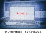Small photo of Cyber Security and threat concept with word ADWARE display on laptop screen and abstract background