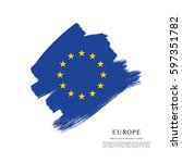 flag of europe  brush stroke... | Shutterstock .eps vector #597351782