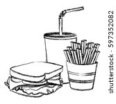 monochrome sketch of sandwich... | Shutterstock .eps vector #597352082