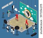movie set with actors director... | Shutterstock .eps vector #597356195