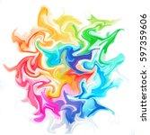 colorful digital acrylic color... | Shutterstock . vector #597359606