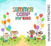 children are jumping ob summer... | Shutterstock .eps vector #597362582
