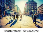 crowd of anonymous people... | Shutterstock . vector #597366092