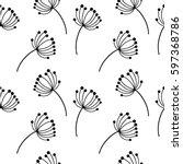 floral pattern. black on white...   Shutterstock .eps vector #597368786