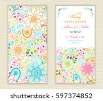 wedding invitation card ethnic... | Shutterstock .eps vector #597374852