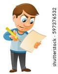 man fills in the form  such as... | Shutterstock .eps vector #597376532