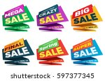 sale label price tag banner... | Shutterstock .eps vector #597377345