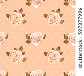 seamless pattern with white... | Shutterstock .eps vector #597377996