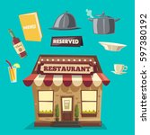 restaurant or cafe. exterior... | Shutterstock .eps vector #597380192