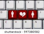 dating on the internet gone... | Shutterstock . vector #597380582