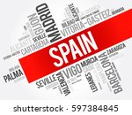 list of cities in spain word... | Shutterstock .eps vector #597384845