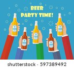 a lot of hands holding the beer ... | Shutterstock .eps vector #597389492