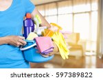 woman with cleaning equipment...   Shutterstock . vector #597389822