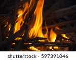 campfire  fire with branches of ... | Shutterstock . vector #597391046