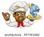 a cartoon black chef character... | Shutterstock .eps vector #597391682