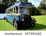 Small photo of Tansley, Derbyshire, UK. August 03, 2014. The 1949 AEC Regal III single decker bus on exhibit at Cromford Steam Rally, Tansley near Matlock in Derbyshire.