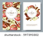 vector apple and cinnamon... | Shutterstock .eps vector #597393302