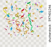 colorful abstract confetti.... | Shutterstock .eps vector #597401246
