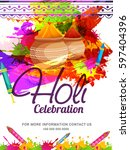 happy holi celebration poster... | Shutterstock .eps vector #597404396