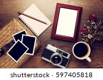 retro camera with empty old... | Shutterstock . vector #597405818