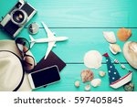 summer holiday background ... | Shutterstock . vector #597405845