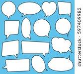 speech bubbles set  comics style | Shutterstock .eps vector #597409982