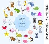 set of 30 cartoon animals....   Shutterstock .eps vector #597417032