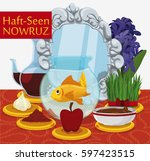 tabletop with haft seen... | Shutterstock .eps vector #597423515