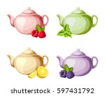 vector set of four colorful... | Shutterstock .eps vector #597431792