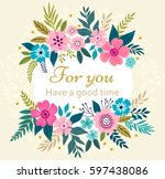 floral wreath on white... | Shutterstock .eps vector #597438086